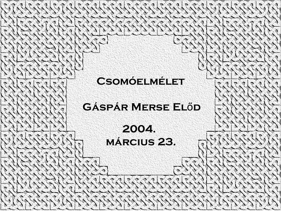 Csomóelmélet Gáspár Merse El ő d 2004. március 23.