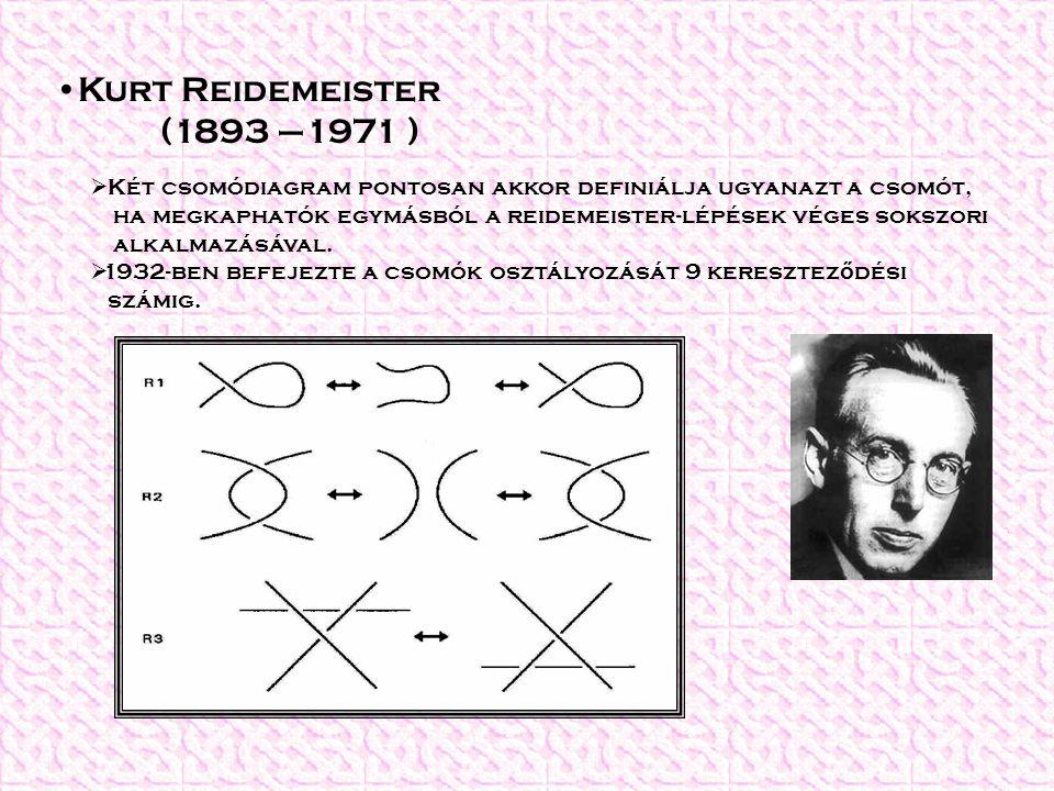  Két csomódiagram pontosan akkor definiálja ugyanazt a csomót, ha megkaphatók egymásból a reidemeister-lépések véges sokszori alkalmazásával.  1932-