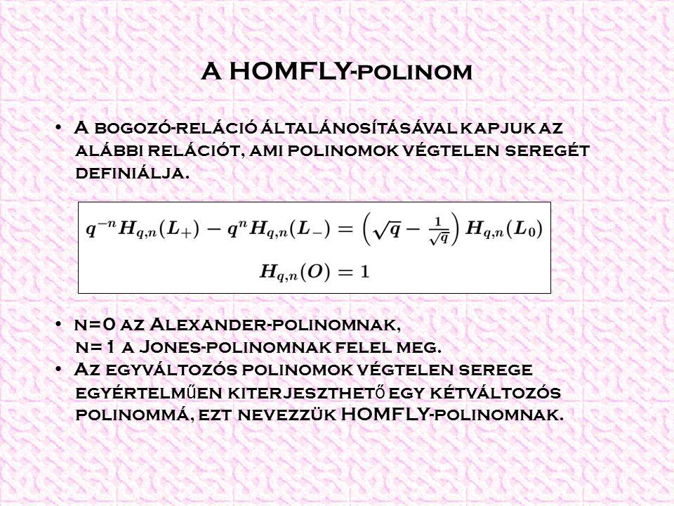 A HOMFLY-polinom A bogozó-reláció általánosításával kapjuk az alábbi relációt, ami polinomok végtelen seregét definiálja. n=0 az Alexander-polinomnak,
