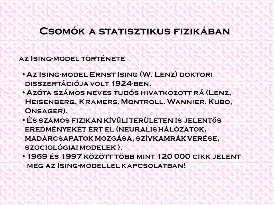 Csomók a statisztikus fizikában Az Ising-model Ernst Ising (W. Lenz) doktori disszertációja volt 1924-ben. Azóta számos neves tudós hivatkozott rá (Le