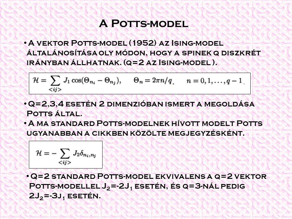 A Potts-model A vektor Potts-model (1952) az Ising-model általánosítása oly módon, hogy a spinek q diszkrét irányban állhatnak. (q=2 az Ising-model ).