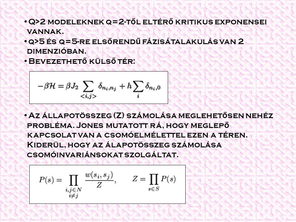 Q>2 modeleknek q=2-t ő l eltér ő kritikus exponensei vannak. q>5 és q=5-re els ő rend ű fázisátalakulás van 2 dimenzióban. Bevezethet ő küls ő tér: Az