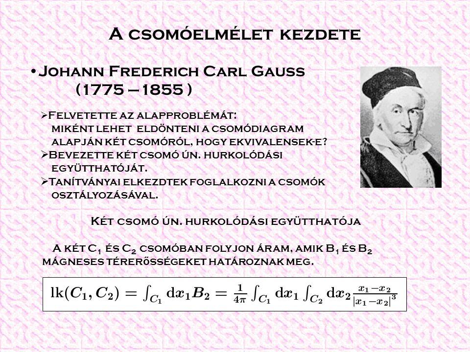 A csomóelmélet kezdete Johann Frederich Carl Gauss (1775 –1855 )  Felvetette az alapproblémát: miként lehet eldönteni a csomódiagram alapján két csom