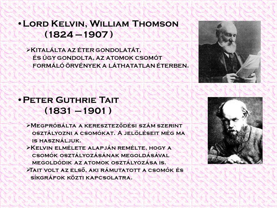 Lord Kelvin, William Thomson (1824 –1907 )  Kitalálta az éter gondolatát, és úgy gondolta, az atomok csomót formáló örvények a láthatatlan éterben. 