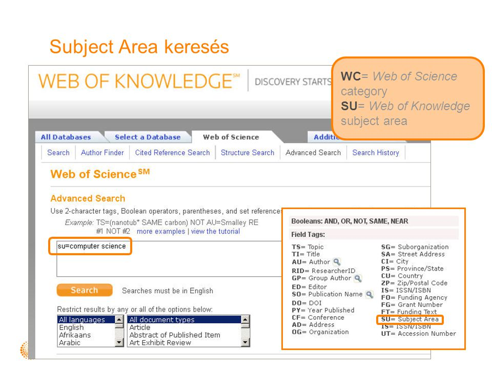 Subject Area keresés WC= Web of Science category SU= Web of Knowledge subject area