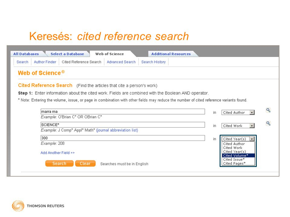 Keresés: cited reference search