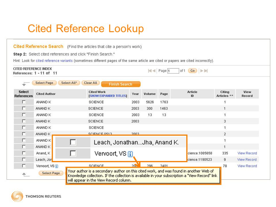Cited Reference Lookup