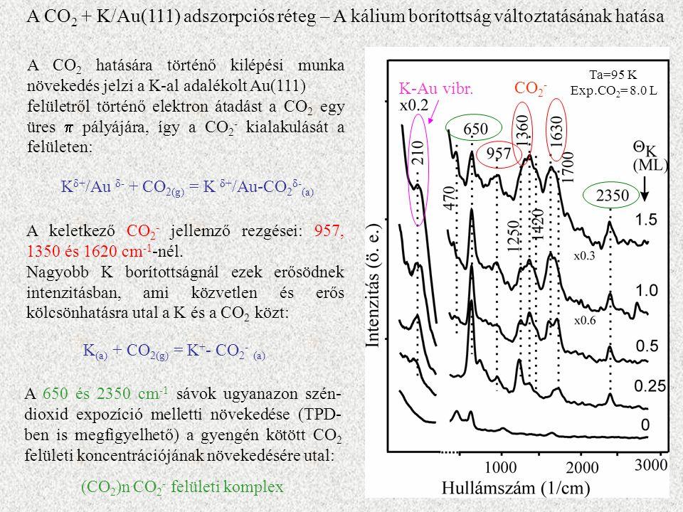 A keletkező CO 2 - jellemző rezgései: 957, 1350 és 1620 cm -1 -nél.