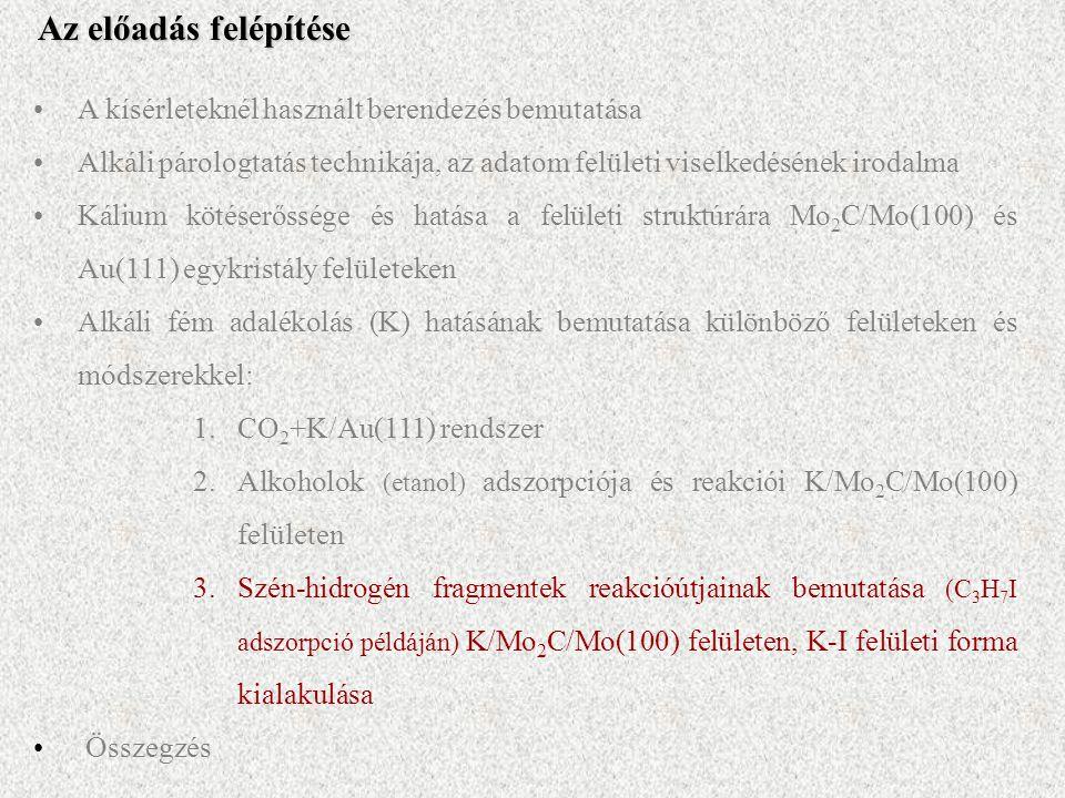 A kísérleteknél használt berendezés bemutatása Alkáli párologtatás technikája, az adatom felületi viselkedésének irodalma Kálium kötéserőssége és hatása a felületi struktúrára Mo 2 C/Mo(100) és Au(111) egykristály felületeken Alkáli fém adalékolás (K) hatásának bemutatása különböző felületeken és módszerekkel: 1.CO 2 +K/Au(111) rendszer 2.Alkoholok (etanol) adszorpciója és reakciói K/Mo 2 C/Mo(100) felületen 3.Szén-hidrogén fragmentek reakcióútjainak bemutatása (C 3 H 7 I adszorpció példáján) K/Mo 2 C/Mo(100) felületen, K-I felületi forma kialakulása Összegzés Az előadás felépítése