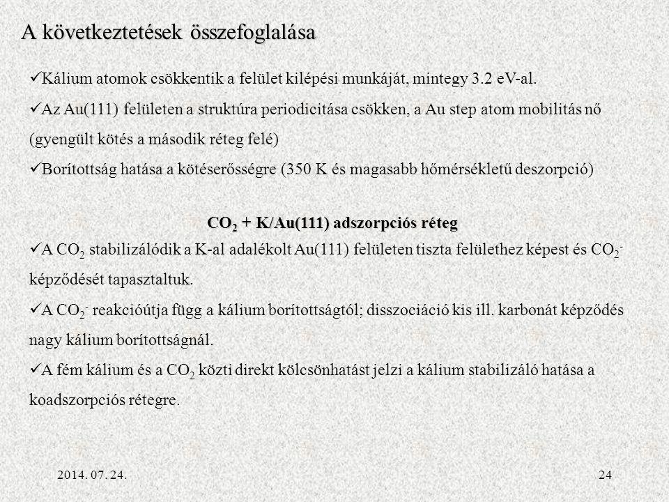 2014. 07. 24.24 A következtetések összefoglalása Kálium atomok csökkentik a felület kilépési munkáját, mintegy 3.2 eV-al. Az Au(111) felületen a struk