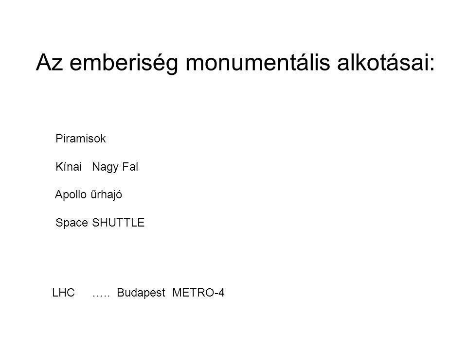 Az emberiség monumentális alkotásai: Piramisok Kínai Nagy Fal Apollo űrhajó Space SHUTTLE LHC …..