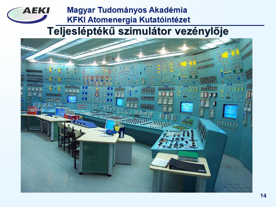 Magyar Tudományos Akadémia KFKI Atomenergia Kutatóintézet 14 Teljesléptékű szimulátor vezénylője