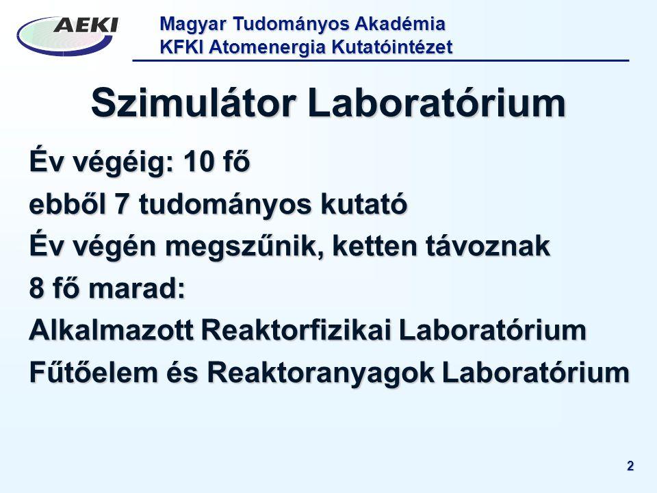 Magyar Tudományos Akadémia KFKI Atomenergia Kutatóintézet 2 Szimulátor Laboratórium Év végéig: 10 fő ebből 7 tudományos kutató Év végén megszűnik, ket