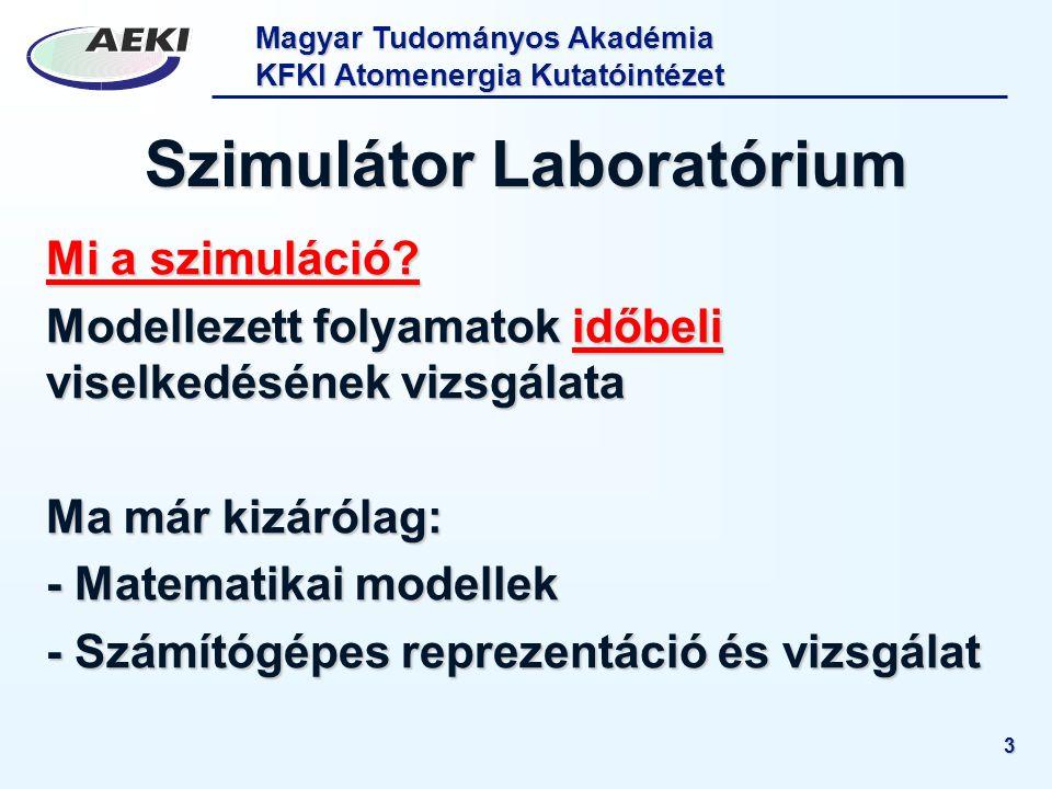 Magyar Tudományos Akadémia KFKI Atomenergia Kutatóintézet 3 Szimulátor Laboratórium Mi a szimuláció? Modellezett folyamatok időbeli viselkedésének viz