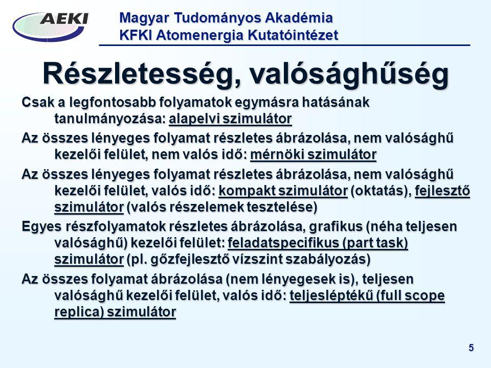Magyar Tudományos Akadémia KFKI Atomenergia Kutatóintézet 5 Részletesség, valósághűség Csak a legfontosabb folyamatok egymásra hatásának tanulmányozás