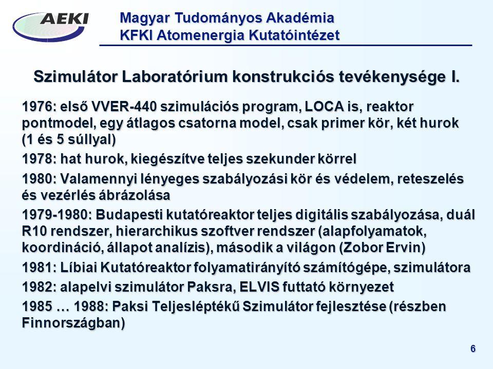 Magyar Tudományos Akadémia KFKI Atomenergia Kutatóintézet 6 Szimulátor Laboratórium konstrukciós tevékenysége I. 1976: első VVER-440 szimulációs progr