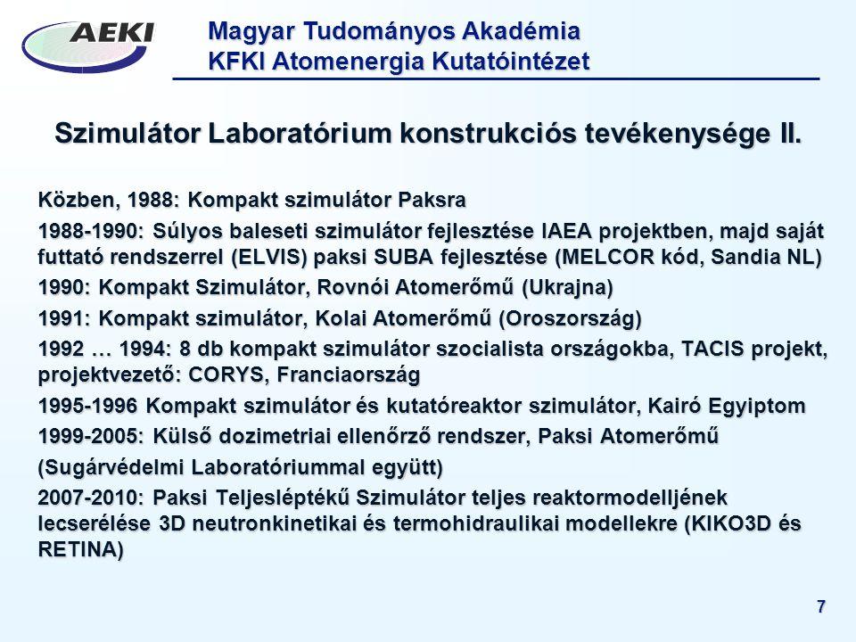 Magyar Tudományos Akadémia KFKI Atomenergia Kutatóintézet 7 Szimulátor Laboratórium konstrukciós tevékenysége II. Közben, 1988: Kompakt szimulátor Pak