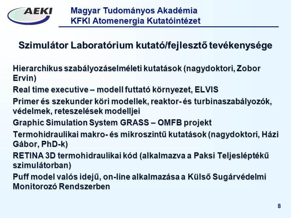 Magyar Tudományos Akadémia KFKI Atomenergia Kutatóintézet 8 Szimulátor Laboratórium kutató/fejlesztő tevékenysége Hierarchikus szabályozáselméleti kut