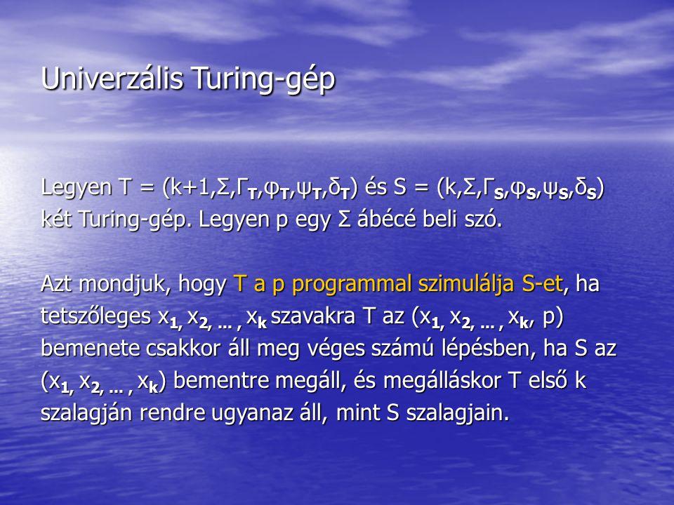 Univerzális Turing-gép Legyen T = (k+1,Σ,Γ T,φ T,ψ T,δ T ) és S = (k,Σ,Γ S,φ S,ψ S,δ S ) két Turing-gép. Legyen p egy Σ ábécé beli szó. Azt mondjuk, h