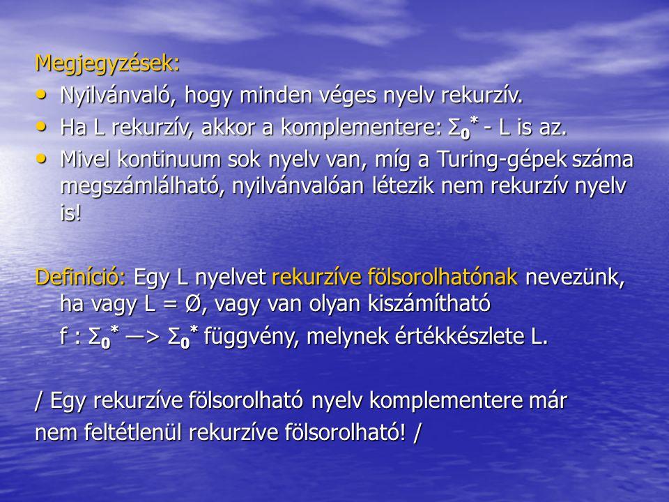 Megjegyzések: Nyilvánvaló, hogy minden véges nyelv rekurzív. Nyilvánvaló, hogy minden véges nyelv rekurzív. Ha L rekurzív, akkor a komplementere: Σ 0