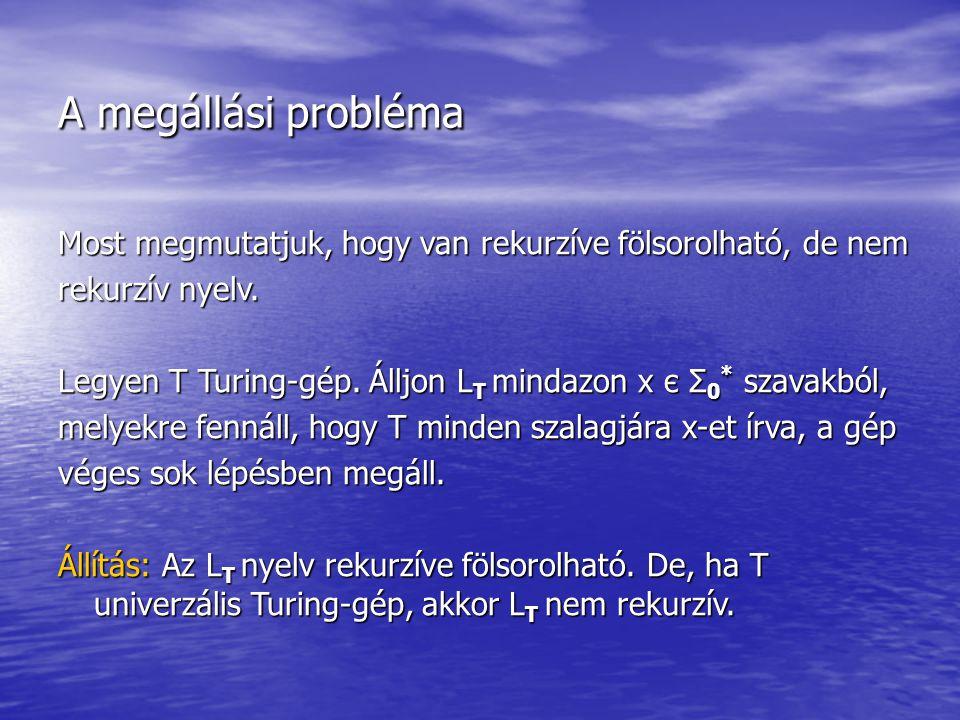 A megállási probléma Most megmutatjuk, hogy van rekurzíve fölsorolható, de nem rekurzív nyelv. Legyen T Turing-gép. Álljon L T mindazon x є Σ 0 * szav