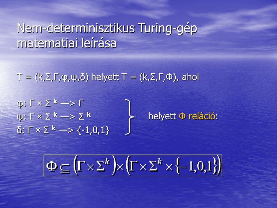 Nem-determinisztikus Turing-gép matematiai leírása T = (k,Σ,Γ,φ,ψ,δ) helyett T = (k,Σ,Γ,Φ), ahol φ: Γ × Σ k —> Γ ψ: Γ × Σ k —> Σ k δ: Γ × Σ k —> {-1,0,1} helyett Φ reláció: