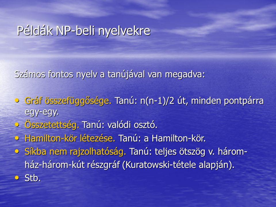 Példák NP-beli nyelvekre Számos fontos nyelv a tanújával van megadva: Gráf összefüggősége. Tanú: n(n-1)/2 út, minden pontpárra egy-egy. Gráf összefügg