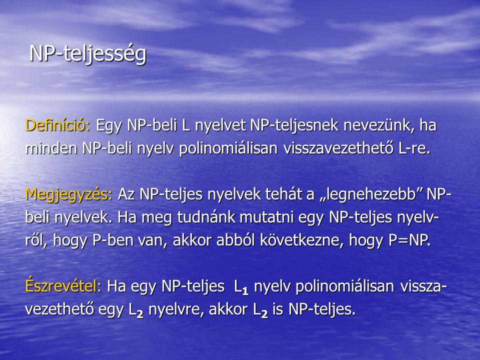 NP-teljesség Definíció: Egy NP-beli L nyelvet NP-teljesnek nevezünk, ha minden NP-beli nyelv polinomiálisan visszavezethető L-re.