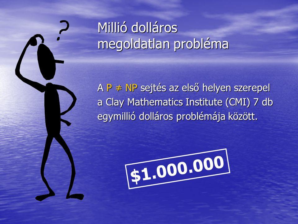 Millió dolláros megoldatlan probléma A P ≠ NP sejtés az első helyen szerepel a Clay Mathematics Institute (CMI) 7 db egymillió dolláros problémája köz