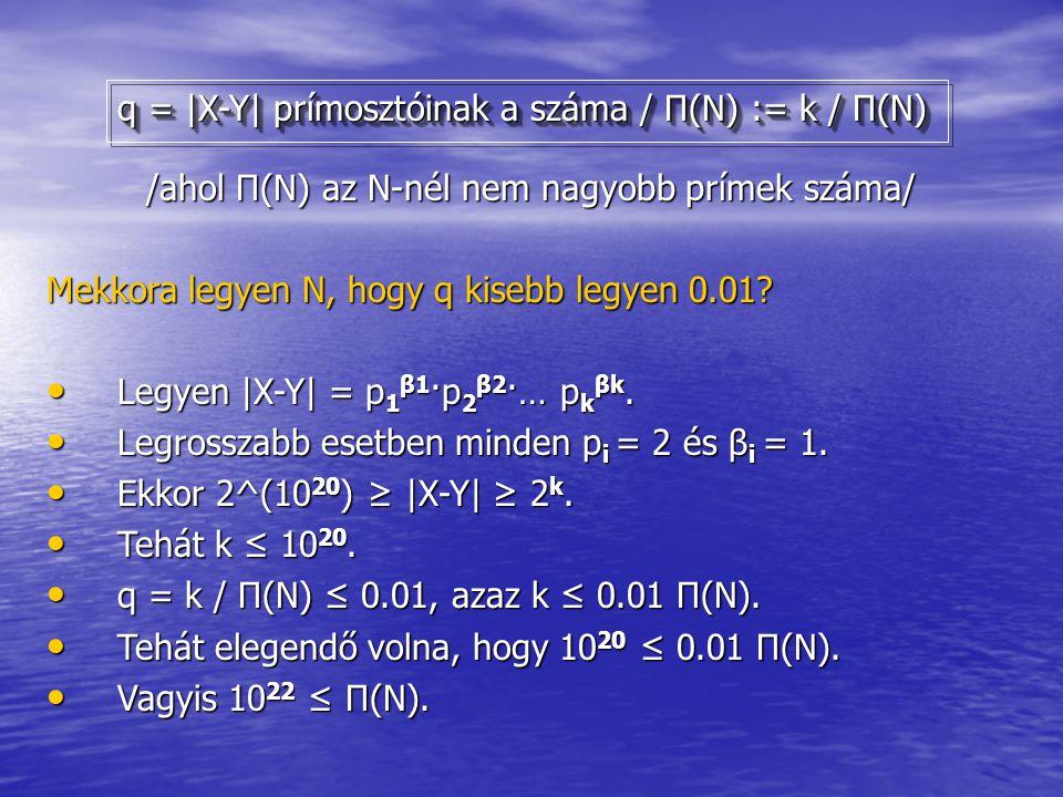 /ahol Π(N) az N-nél nem nagyobb prímek száma/ /ahol Π(N) az N-nél nem nagyobb prímek száma/ Mekkora legyen N, hogy q kisebb legyen 0.01? Legyen |X-Y|