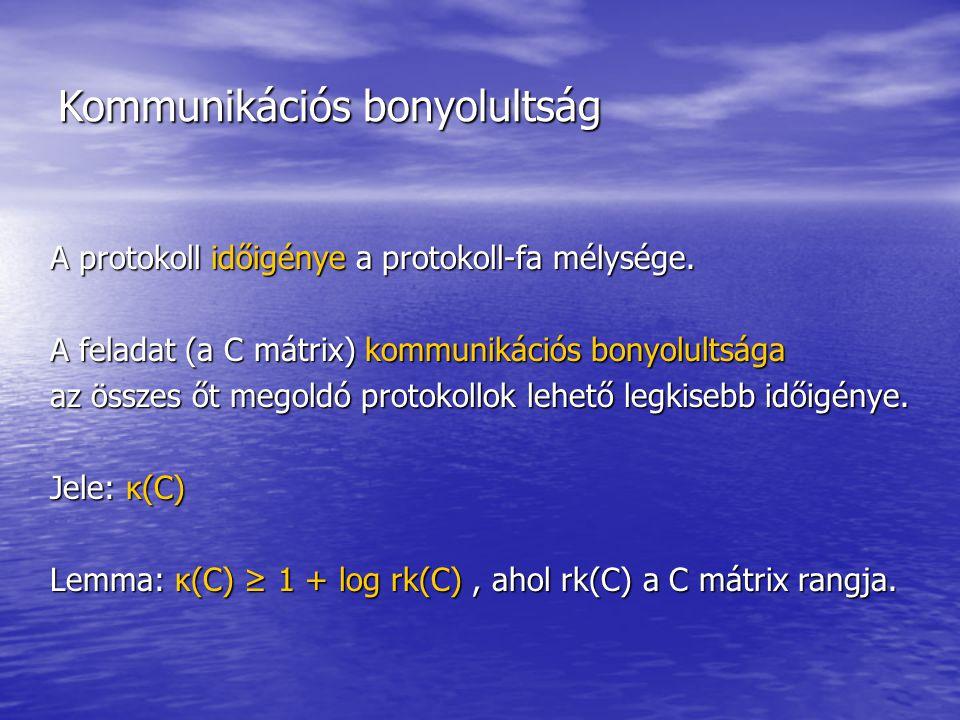 Kommunikációs bonyolultság A protokoll időigénye a protokoll-fa mélysége.