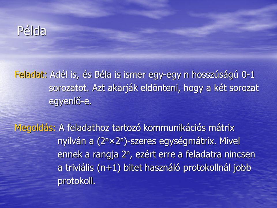 Példa Feladat: Adél is, és Béla is ismer egy-egy n hosszúságú 0-1 sorozatot.