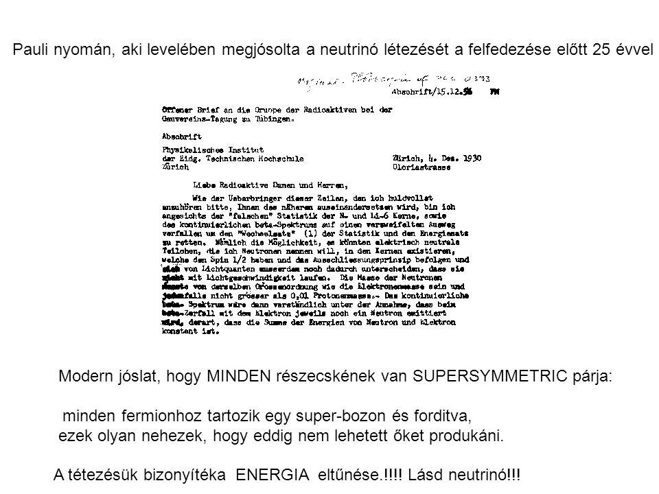 Pauli nyomán, aki levelében megjósolta a neutrinó létezését a felfedezése előtt 25 évvel Modern jóslat, hogy MINDEN részecskének van SUPERSYMMETRIC párja: minden fermionhoz tartozik egy super-bozon és forditva, ezek olyan nehezek, hogy eddig nem lehetett őket produkáni.