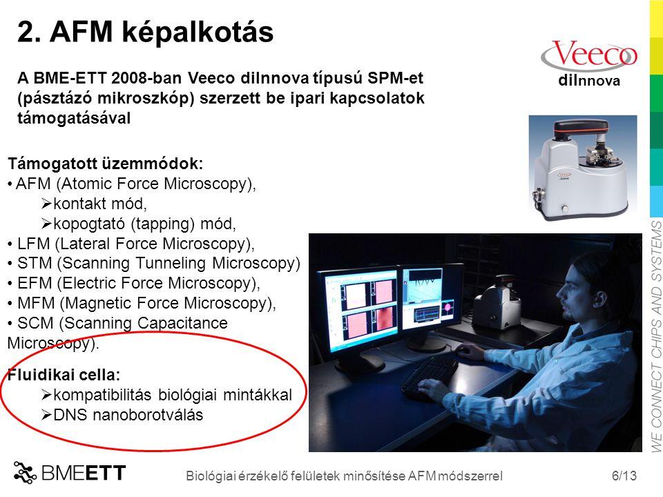 /13 6 Biológiai érzékelő felületek minősítése AFM módszerrel diI nnova 2. AFM képalkotás A BME-ETT 2008-ban Veeco diInnova típusú SPM-et (pásztázó mik