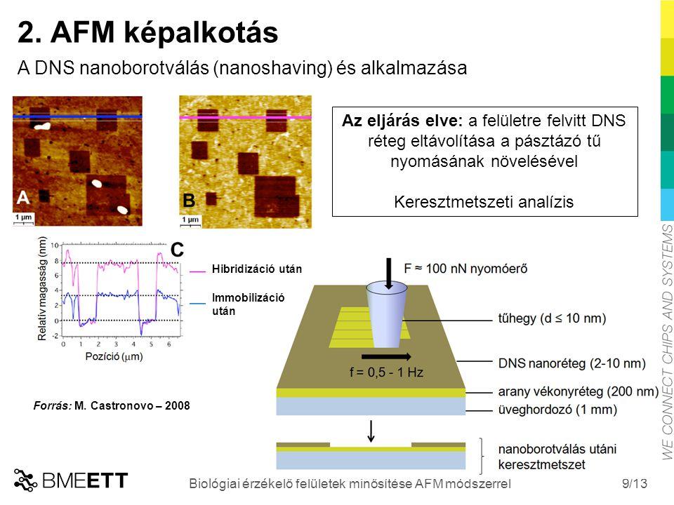 /13 9 2. AFM képalkotás A DNS nanoborotválás (nanoshaving) és alkalmazása Biológiai érzékelő felületek minősítése AFM módszerrel Hibridizáció után Imm