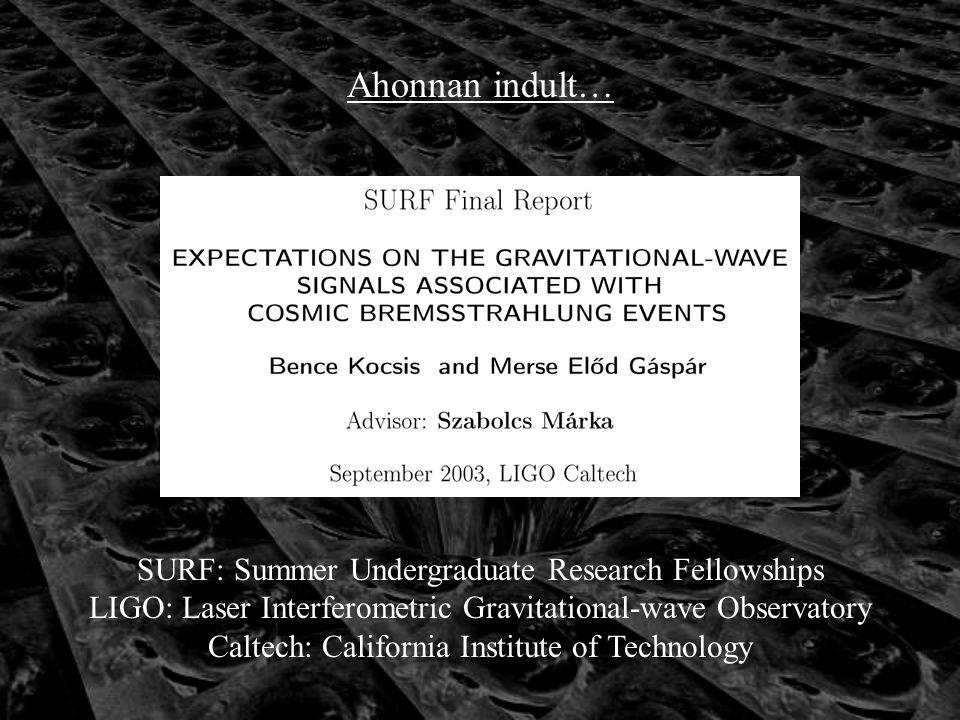Ahonnan indult… SURF: Summer Undergraduate Research Fellowships LIGO: Laser Interferometric Gravitational-wave Observatory Caltech: California Institute of Technology