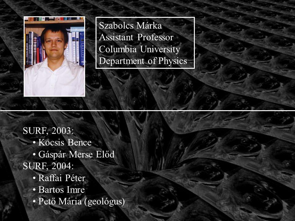 SURF, 2003: Kocsis Bence Gáspár Merse Előd SURF, 2004: Raffai Péter Bartos Imre Pető Mária (geológus) Szabolcs Márka Assistant Professor Columbia University Department of Physics