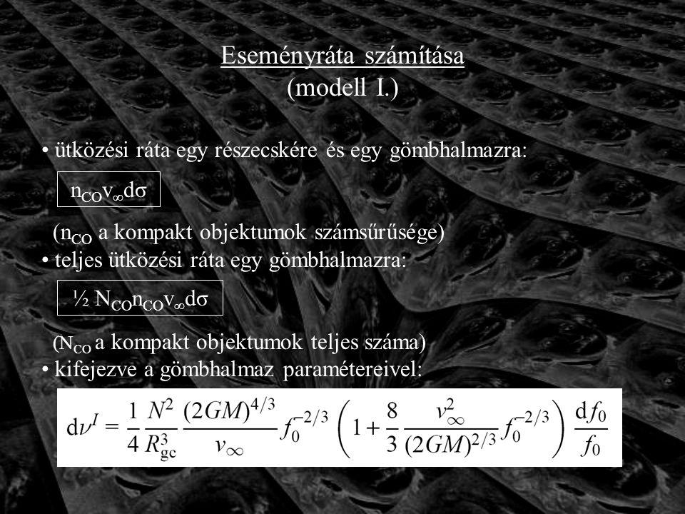 Eseményráta számítása (modell I.) ütközési ráta egy részecskére és egy gömbhalmazra: (n CO a kompakt objektumok számsűrűsége) teljes ütközési ráta egy gömbhalmazra: (N CO a kompakt objektumok teljes száma) kifejezve a gömbhalmaz paramétereivel: n CO v ∞ dσ ½ N CO n CO v ∞ dσ