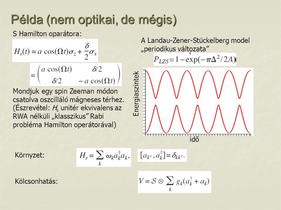 """Példa (nem optikai, de mégis) A Landau-Zener-Stückelberg model """"periodikus változata"""" S Hamilton oparátora: idő Energiaszintek Mondjuk egy spin Zeeman"""