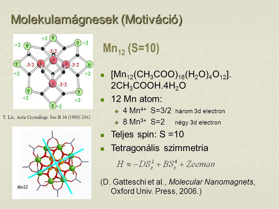 T. Lis, Acta Crystallogr. Sec B 36 (1980) 2042 Mn 12 (S=10) [Mn 12 (CH 3 COO) 16 (H 2 O) 4 O 12 ]. 2CH 3 COOH.4H 2 O 12 Mn atom:  4 Mn 4+ S=3/2 három
