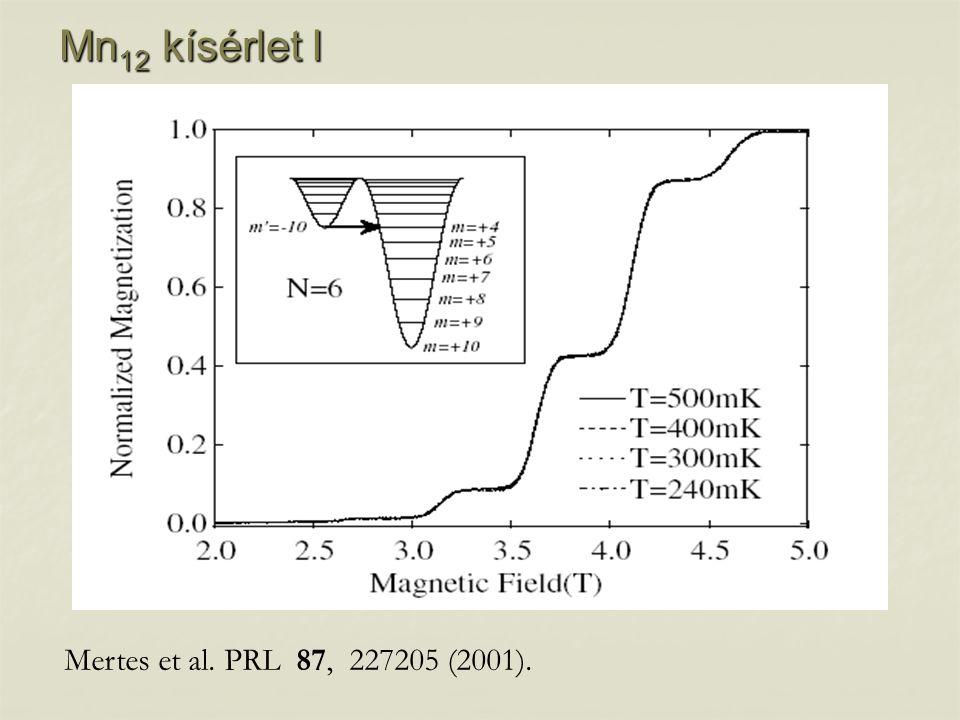 Mn 12 kísérlet I Mertes et al. PRL 87, 227205 (2001).