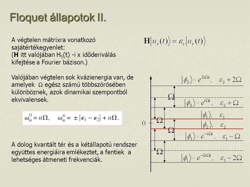 Floquet állapotok II. A végtelen mátrixra vonatkozó sajátértékegyenlet: (H itt valójában H S (t) -i x időderiválás kifejtése a Fourier bázison.) Valój