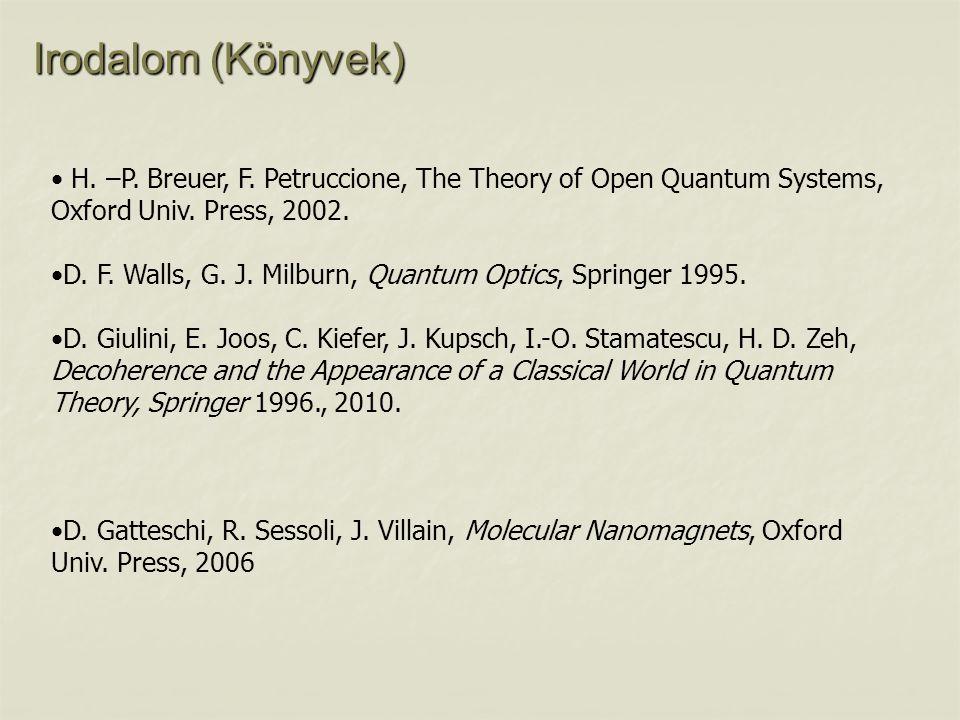 Irodalom (Könyvek) H. –P. Breuer, F. Petruccione, The Theory of Open Quantum Systems, Oxford Univ. Press, 2002. D. F. Walls, G. J. Milburn, Quantum Op