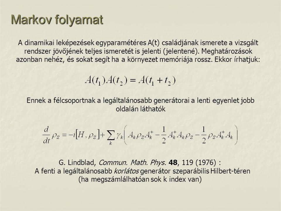 Markov folyamat A dinamikai leképezések egyparamétéres A(t) családjának ismerete a vizsgált rendszer jövőjének teljes ismeretét is jelenti (jelentené)
