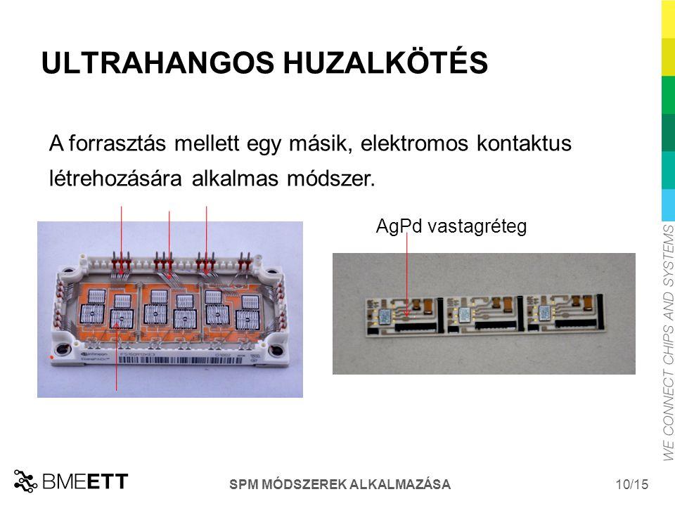 /15 SPM MÓDSZEREK ALKALMAZÁSA 10 ULTRAHANGOS HUZALKÖTÉS A forrasztás mellett egy másik, elektromos kontaktus létrehozására alkalmas módszer.