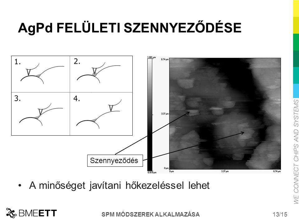 /15 13 AgPd FELÜLETI SZENNYEZŐDÉSE Szennyeződés A minőséget javítani hőkezeléssel lehet SPM MÓDSZEREK ALKALMAZÁSA