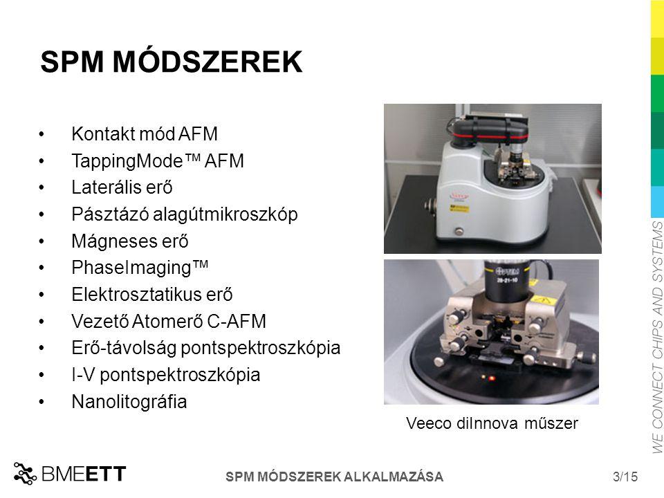 /15 SPM MÓDSZEREK ALKALMAZÁSA 3 SPM MÓDSZEREK Veeco diInnova műszer Kontakt mód AFM TappingMode™ AFM Laterális erő Pásztázó alagútmikroszkóp Mágneses erő PhaseImaging™ Elektrosztatikus erő Vezető Atomerő C-AFM Erő-távolság pontspektroszkópia I-V pontspektroszkópia Nanolitográfia