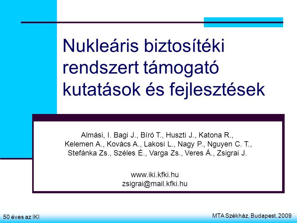 MTA Székház, Budapest, 2009 50 éves az IKI Nukleáris biztosítéki rendszert támogató kutatások és fejlesztések Almási, I. Bagi J., Bíró T., Huszti J.,