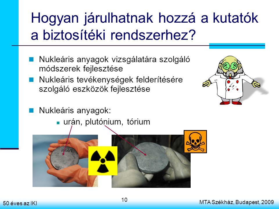 50 éves az IKI MTA Székház, Budapest, 2009 10 Hogyan járulhatnak hozzá a kutatók a biztosítéki rendszerhez? Nukleáris anyagok vizsgálatára szolgáló mó
