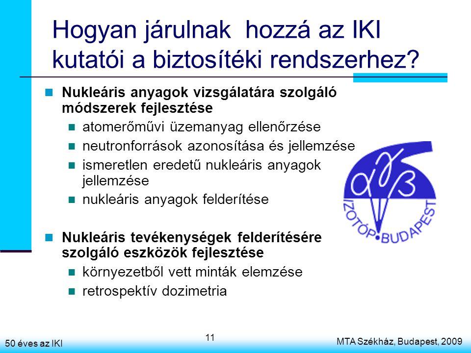 50 éves az IKI MTA Székház, Budapest, 2009 11 Hogyan járulnak hozzá az IKI kutatói a biztosítéki rendszerhez? Nukleáris anyagok vizsgálatára szolgáló